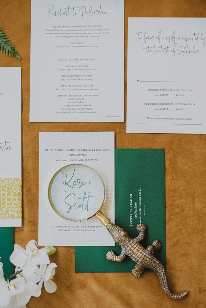 green white and gold stationery suite