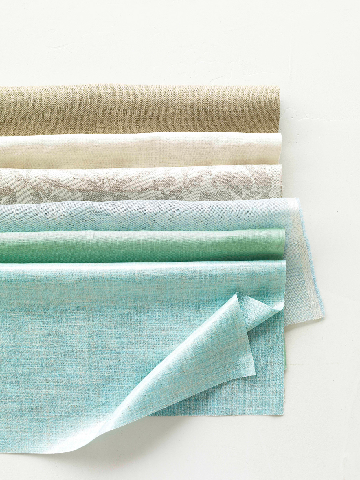 blue and tan hued linen fabric