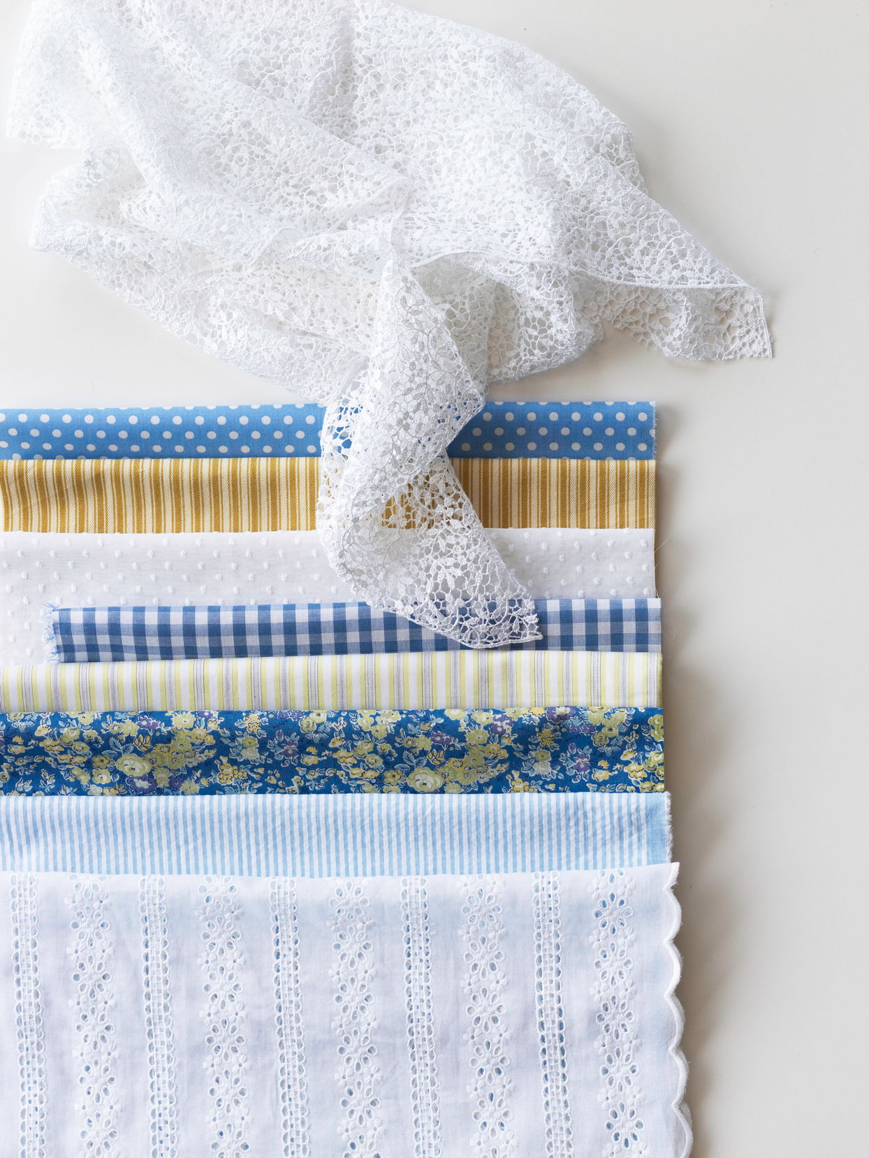 blue and yellow patterned cotton fabric