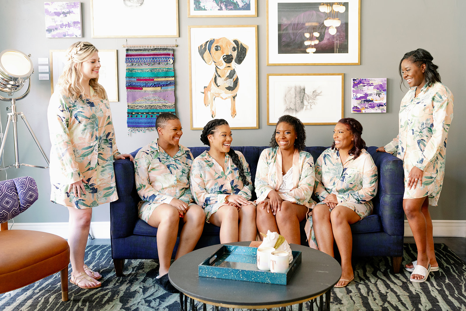 bride and bridesmaids in matching loungewear