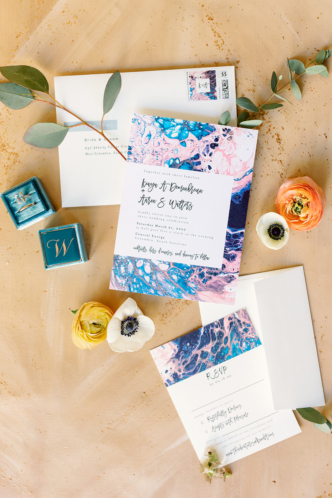 blue, pink and white wedding invitation suite
