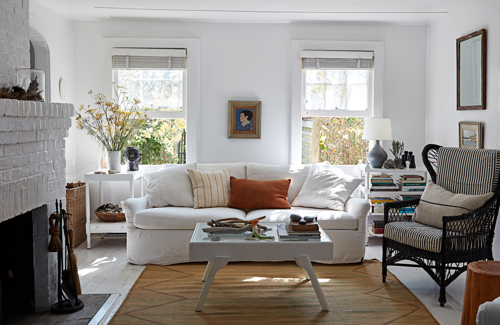 white living room embellished with indigenous art