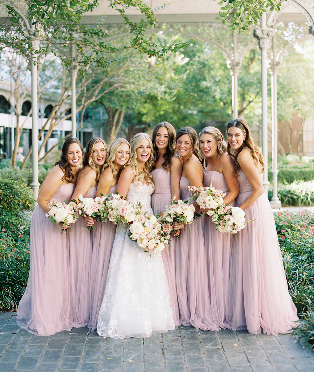dusty blush color bridesmaid gowns
