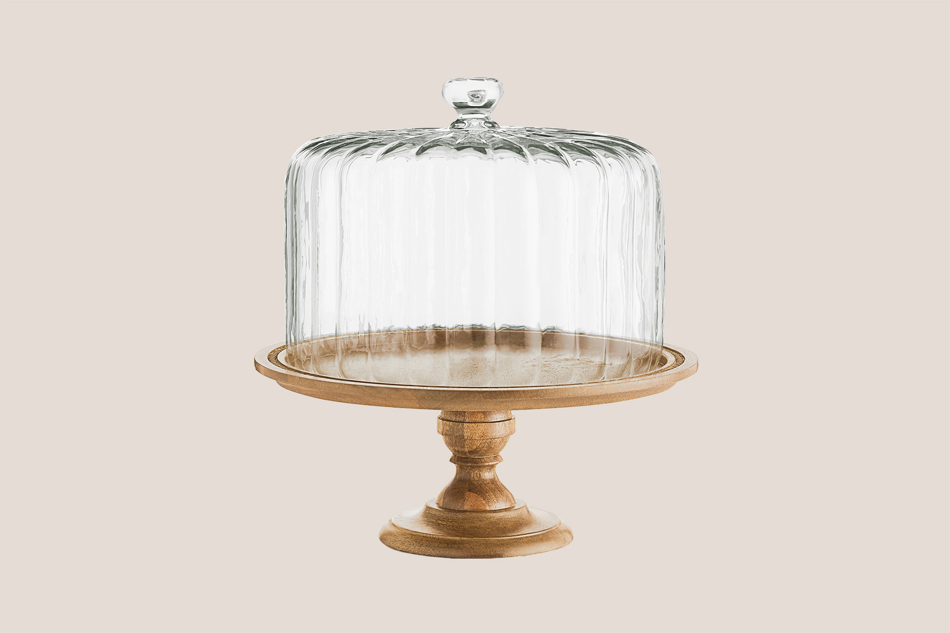 martha stewart collection wooden base cake dome with glass top
