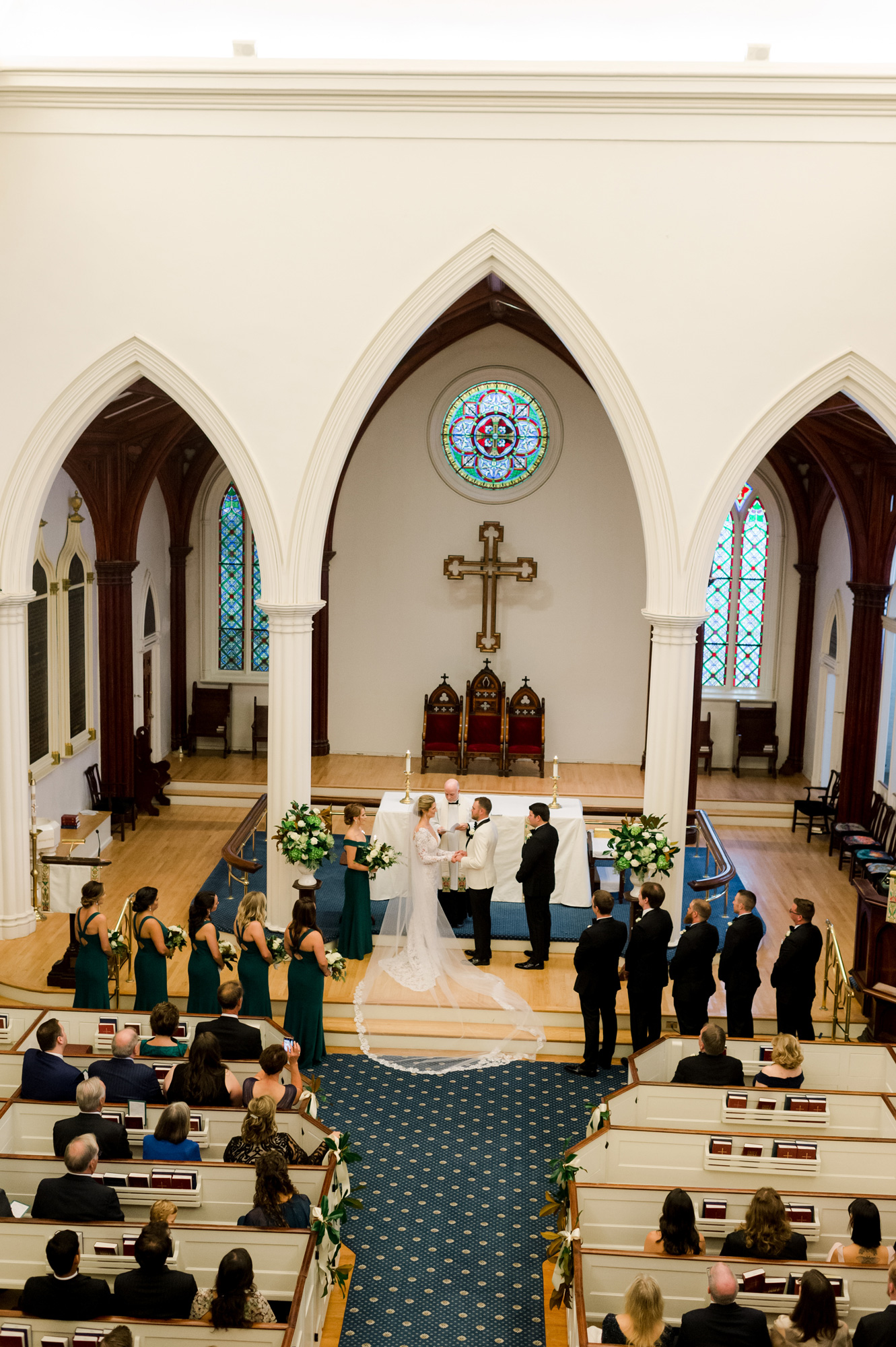 bride and groom during ceremony in church
