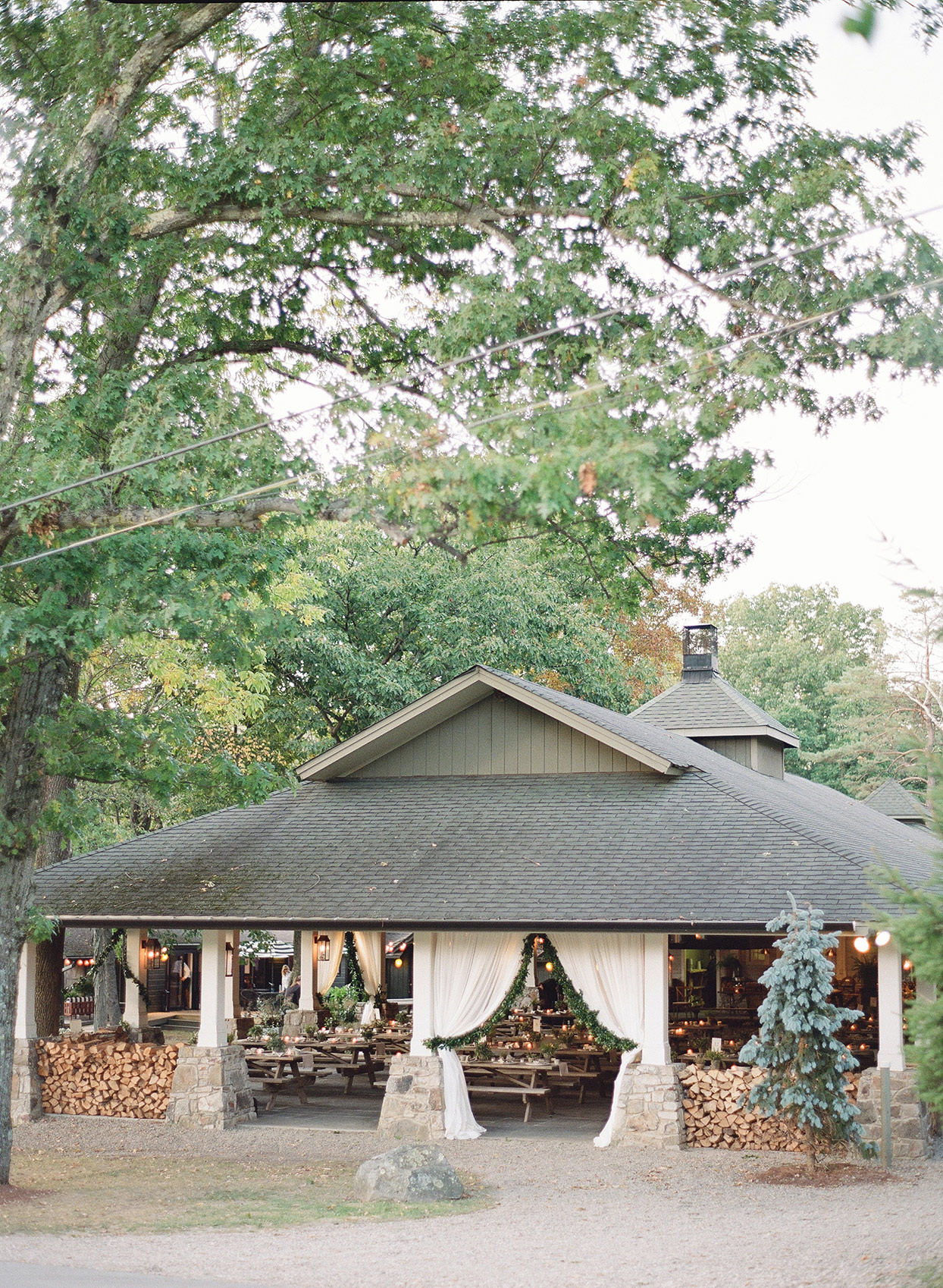 rehearsal dinner shelter tent venue during the day