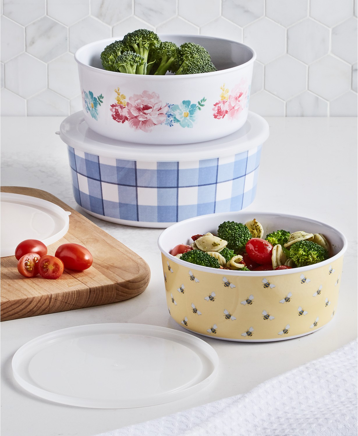 colorful nesting food storage containers