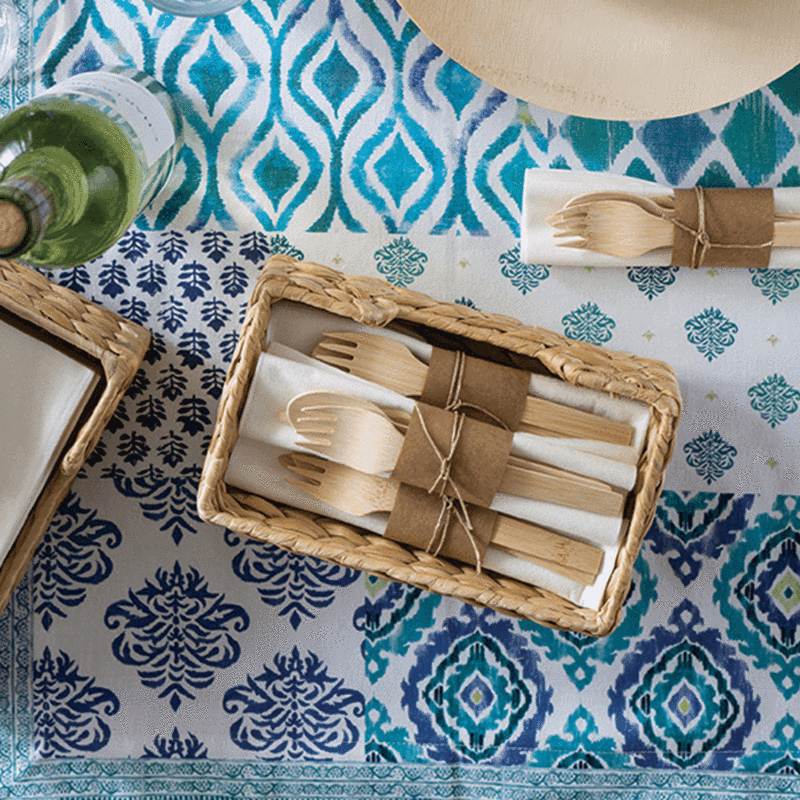 bamboo eating utensils and plates