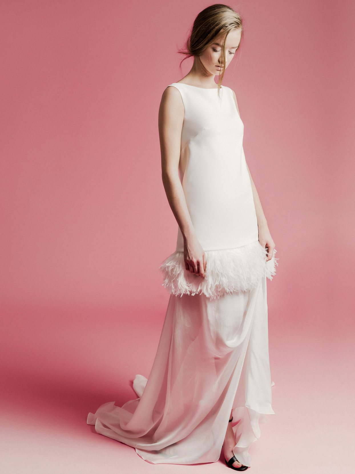 Sophie Et Voilà feathered drop-waist sleeveless wedding dress spring 2021