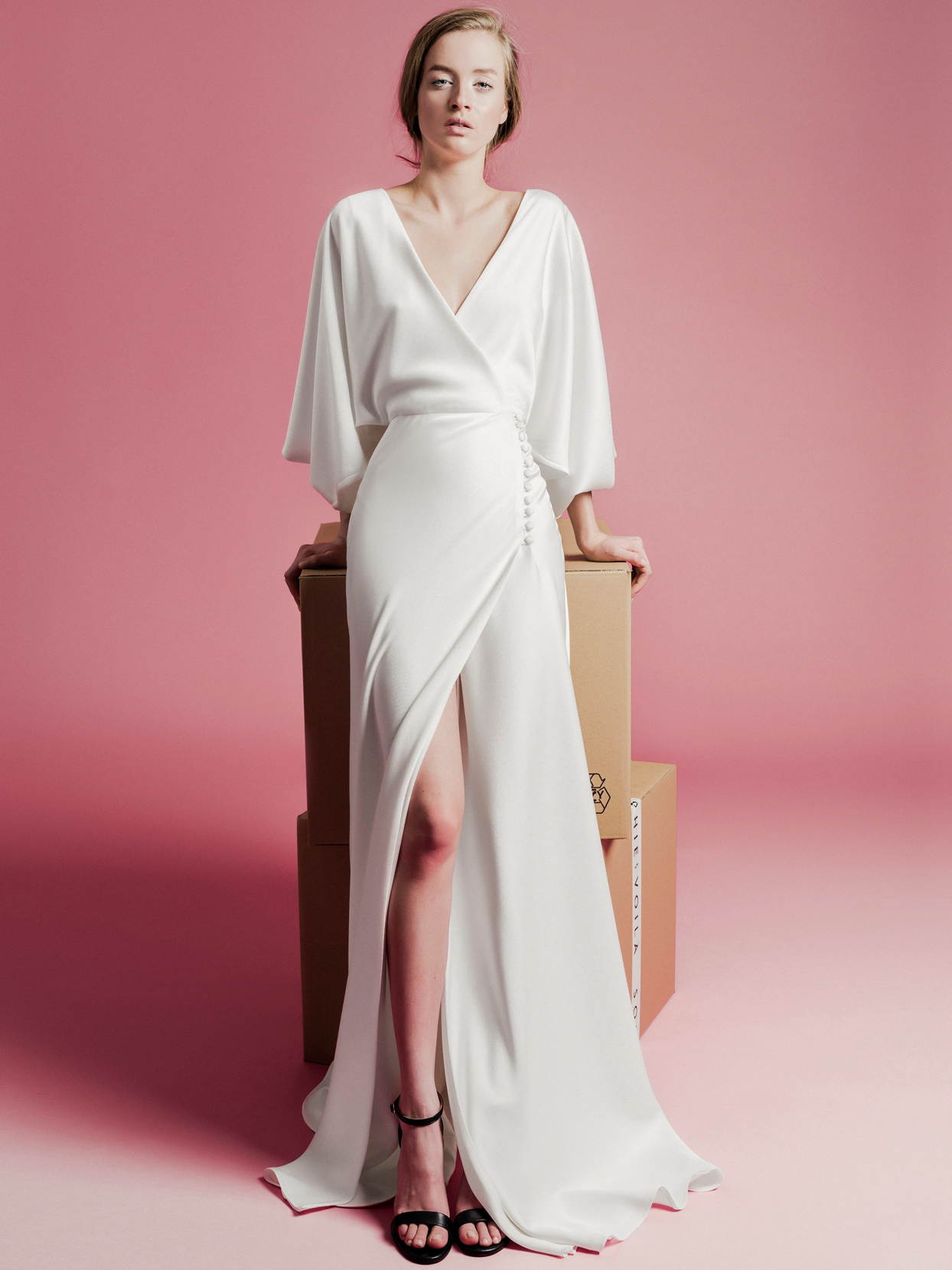 Sophie Et Voilà v-neck flutter long sleeve front slit wedding dress spring 2021