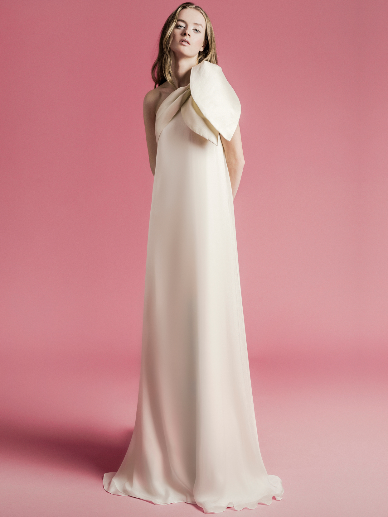 Sophie Et Voilà one shoulder bow sheath wedding dress spring 2021