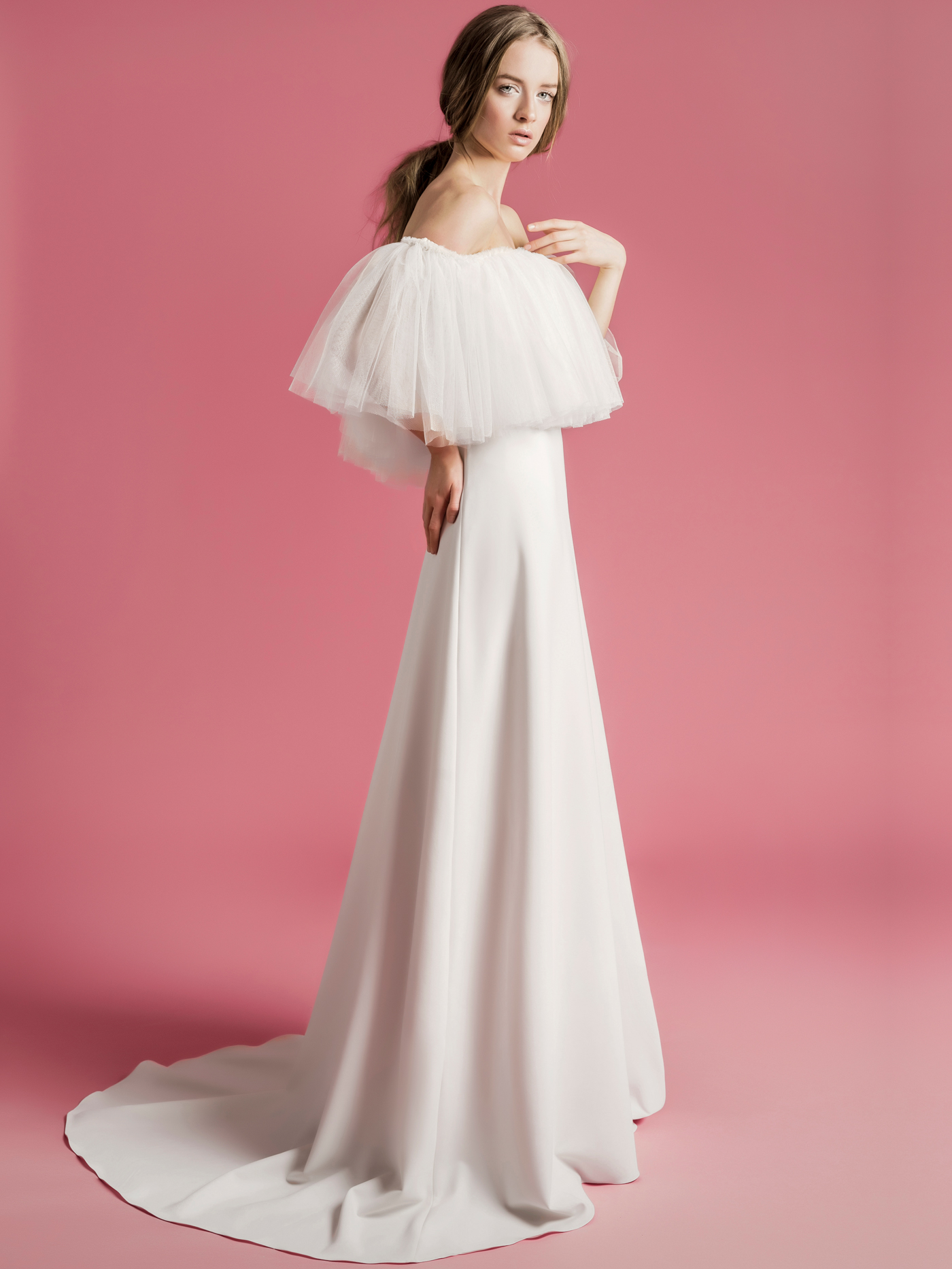 Sophie Et Voilà off the shoulder tulle a-line wedding dress spring 2021