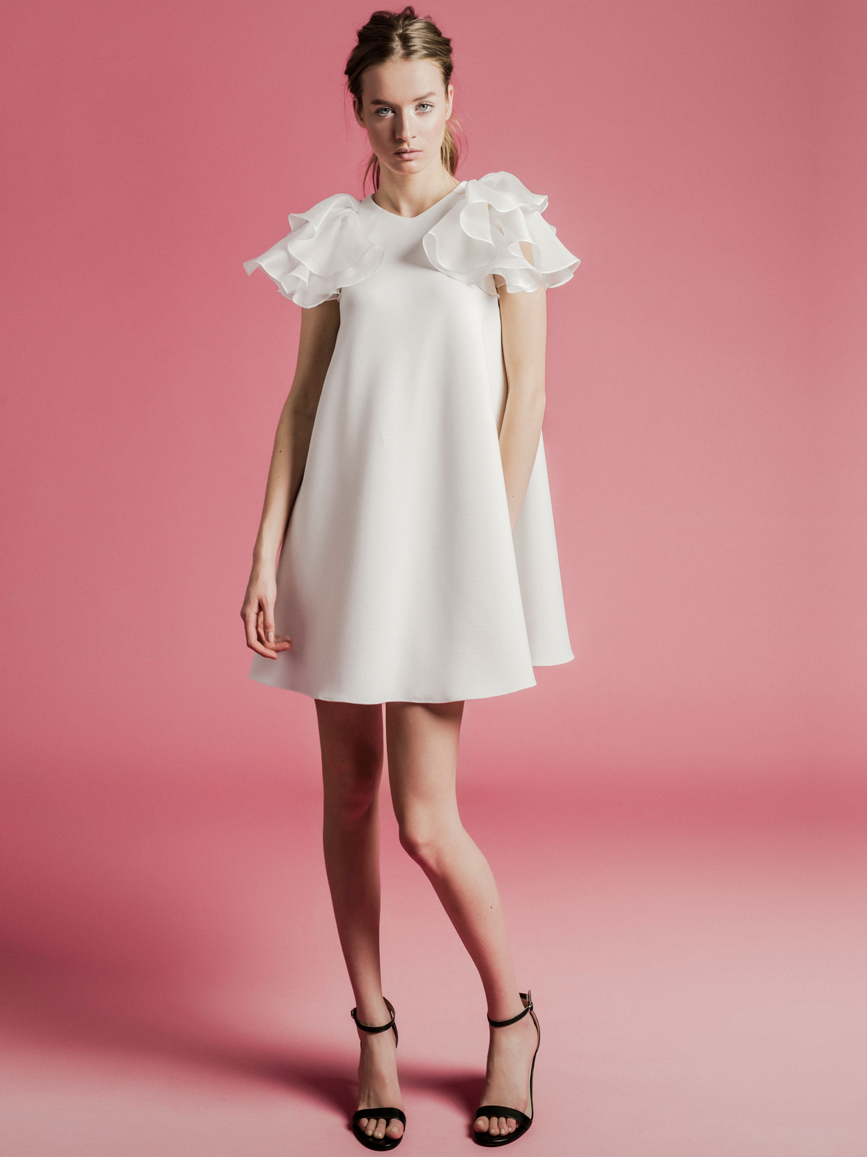 Sophie Et Voilà layered flutter sleeve short wedding dress spring 2021