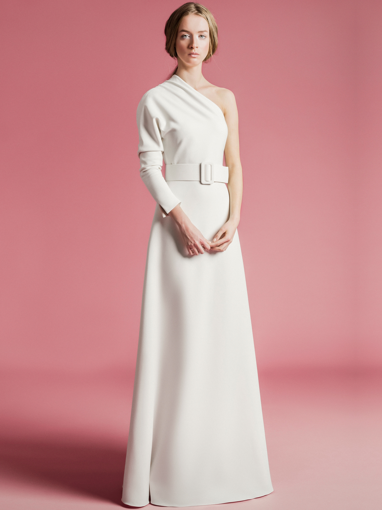 Sophie Et Voilà one shoulder long sleeve belted wedding dress spring 2021