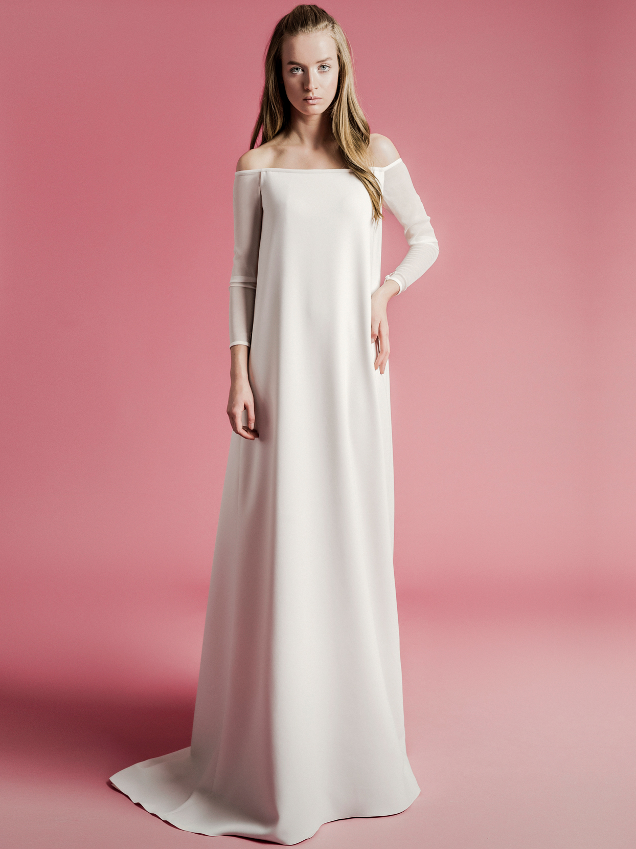 Sophie Et Voilà off-the-shoulder long sleeve sheath wedding dress spring 2021