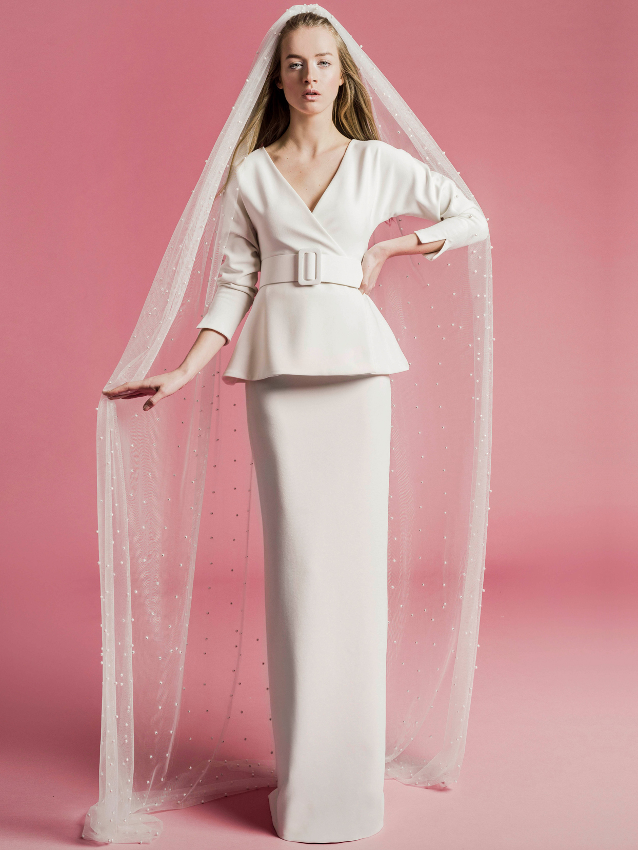 Sophie Et Voilà v-neck long sleeve belted peplum wedding dress spring 2021