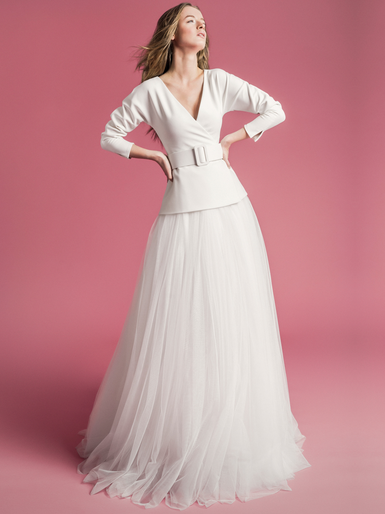 Sophie Et Voilà long sleeve belted v-neck tulle skirt wedding dress spring 2021