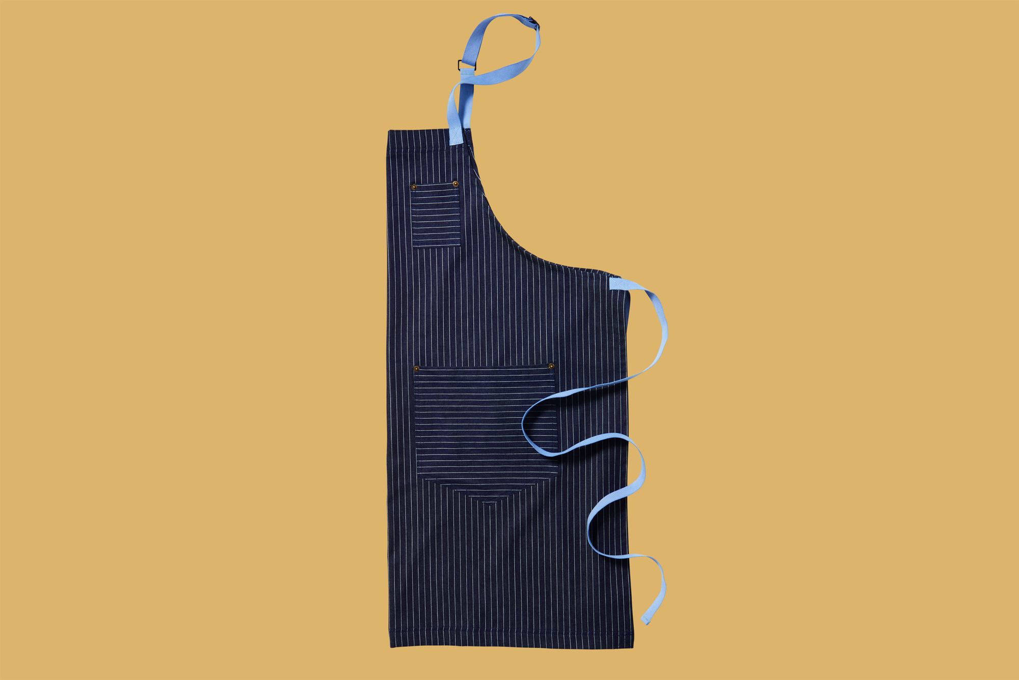 blue pen-striped Petal Pushing Denim Apron with pockets