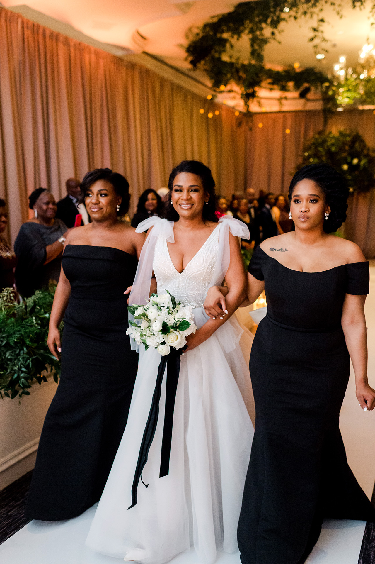 denita john wedding ceremony processional bride and bridesmaids