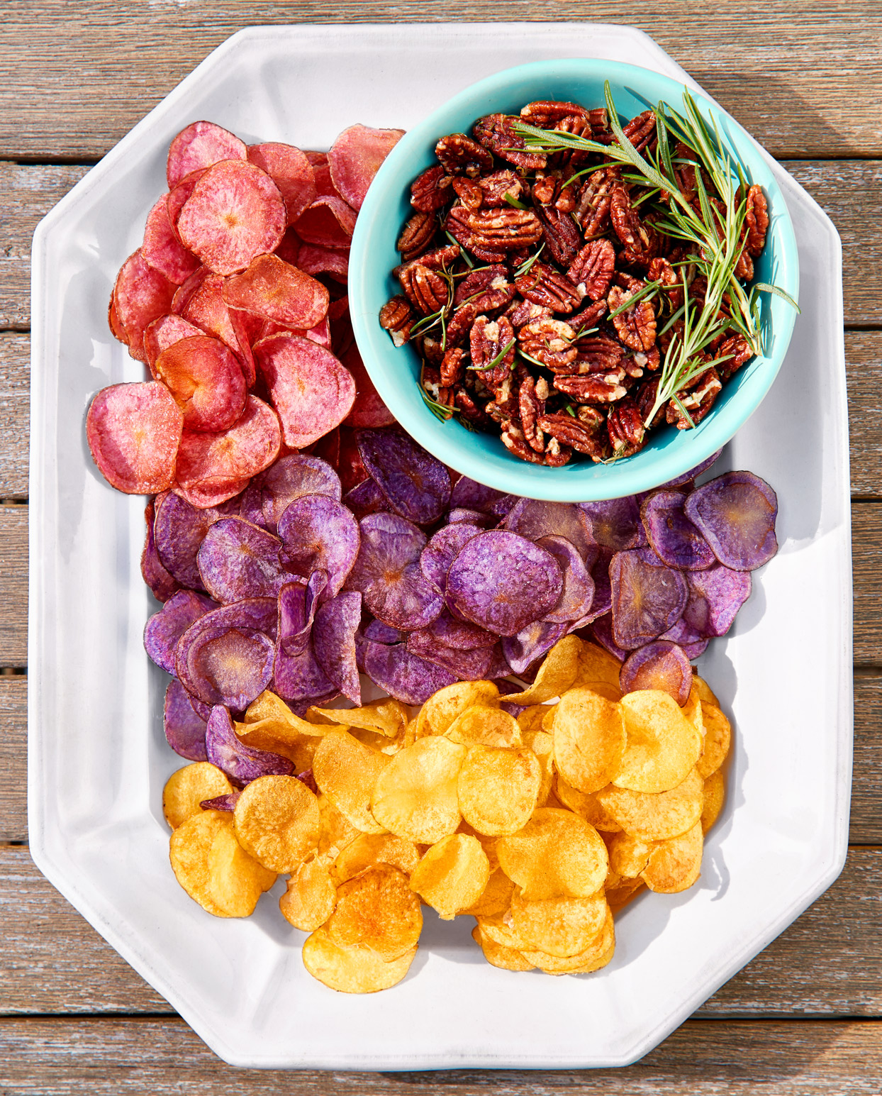 Herb-Roasted Pecans with Red, White, and Blue Potato Chips