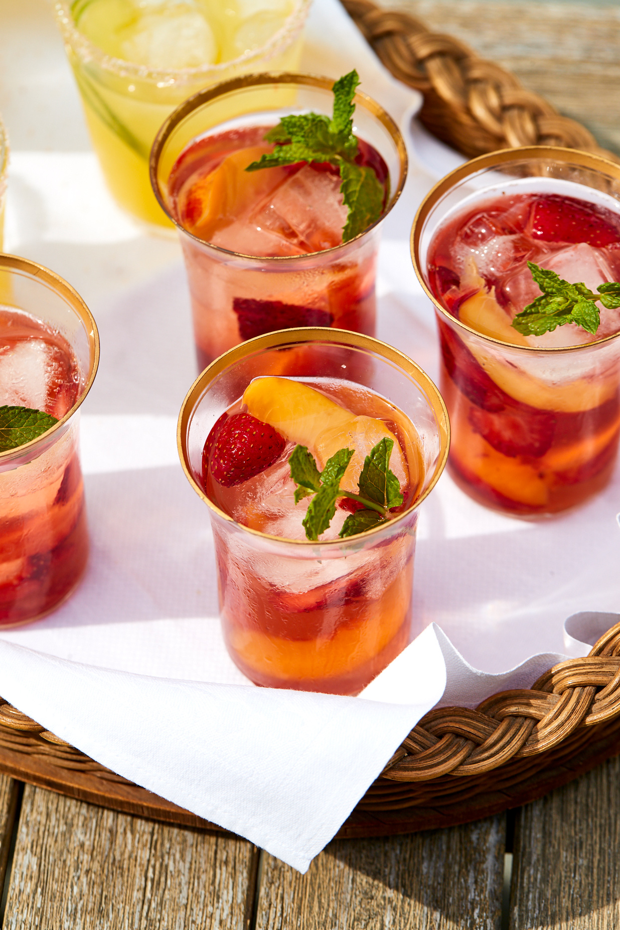 Rose Sangria with Nectarines and Strawberries