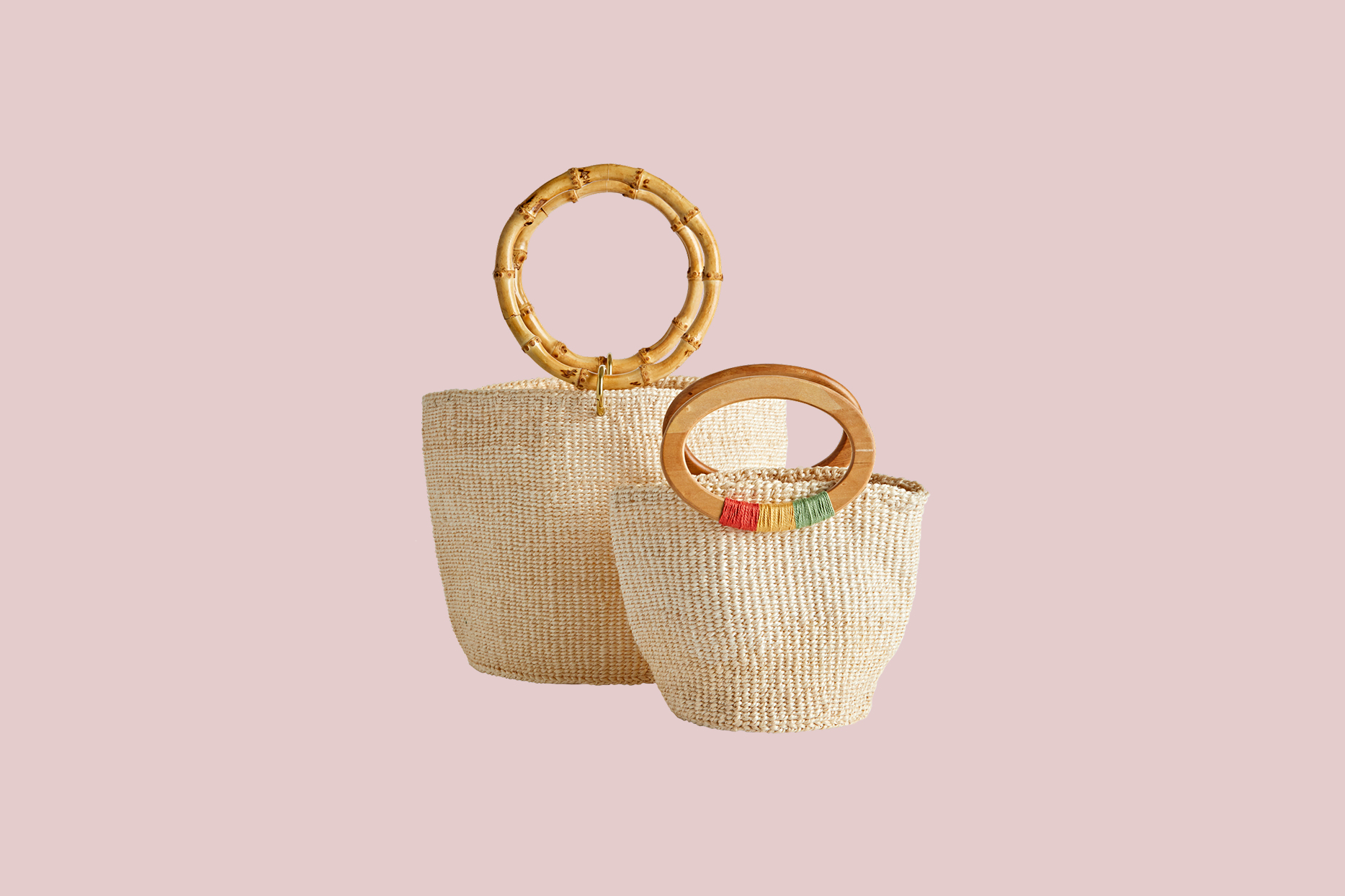 Two woven totes
