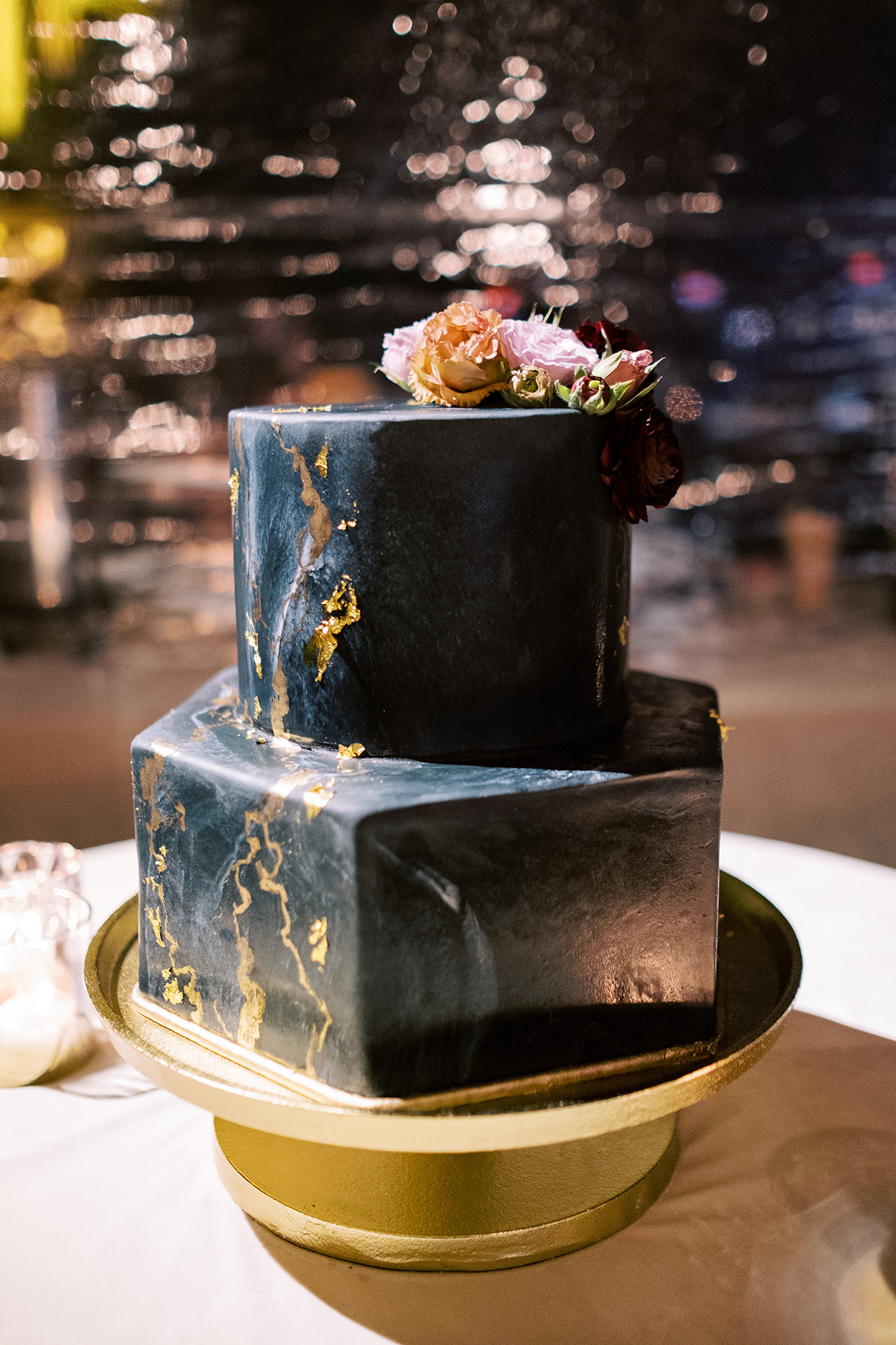 black and gold hexagon wedding cake