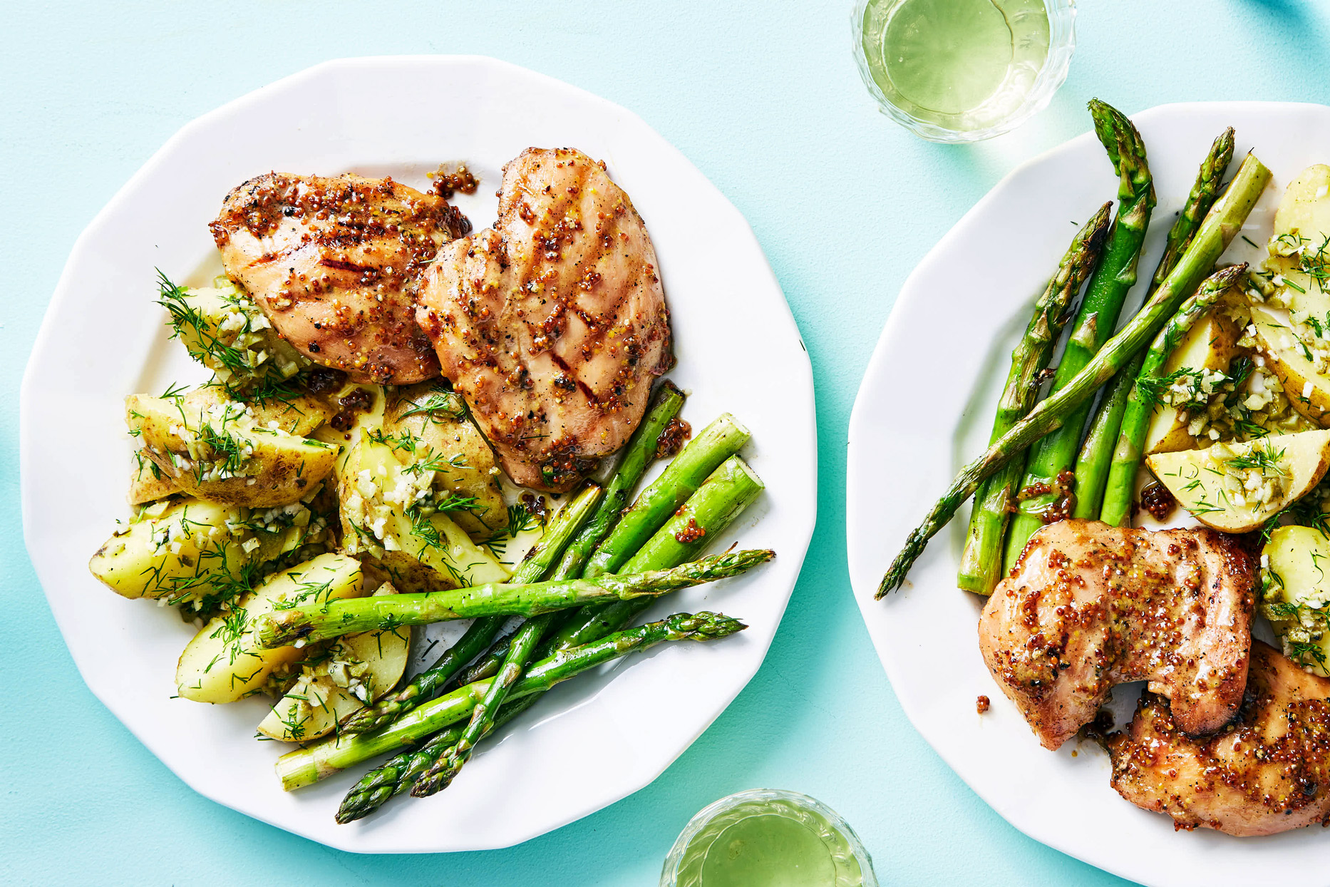 martha and marley spoon honey mustard chicken with potato salad and asparagus