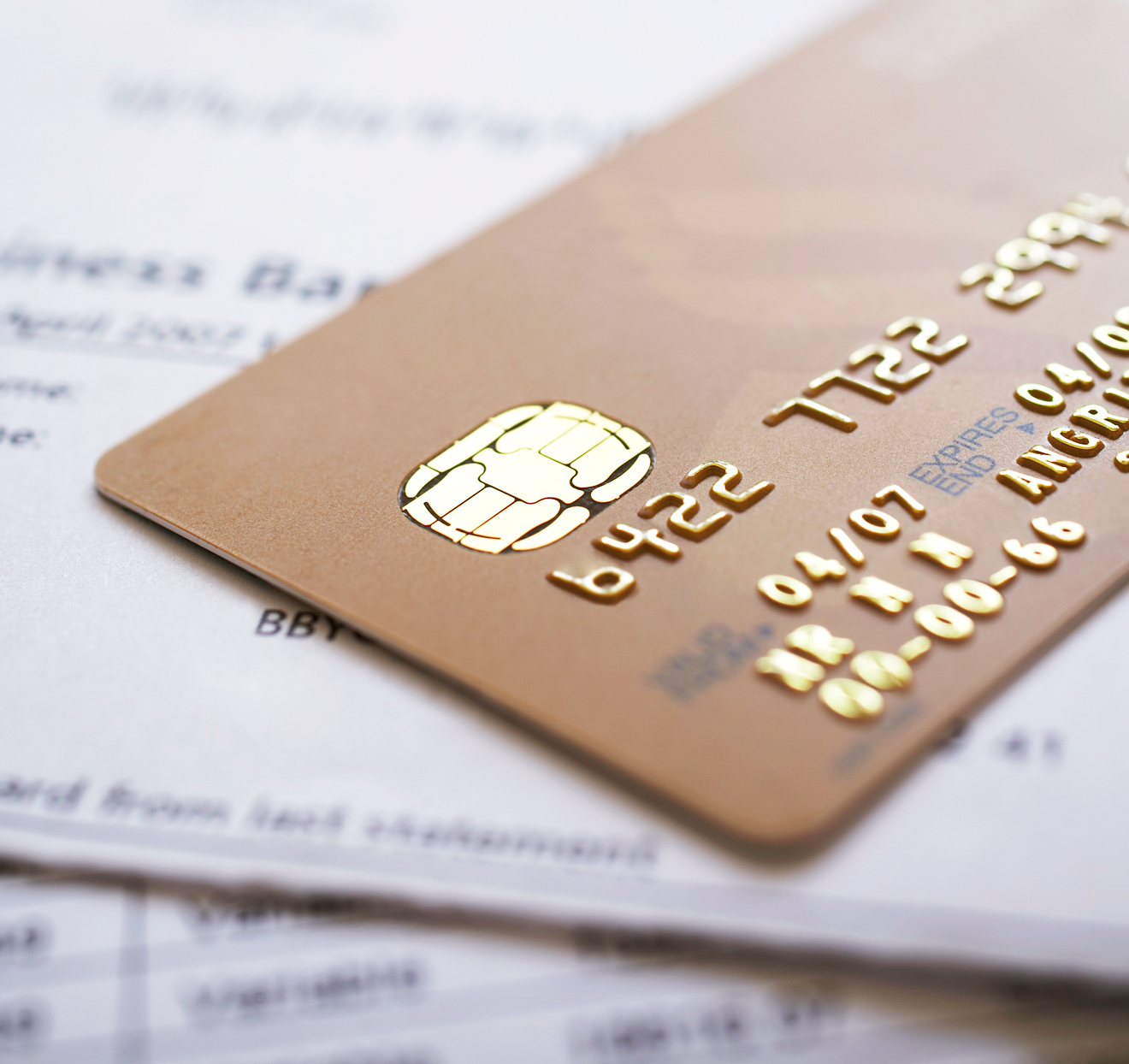 credit card on financial papers