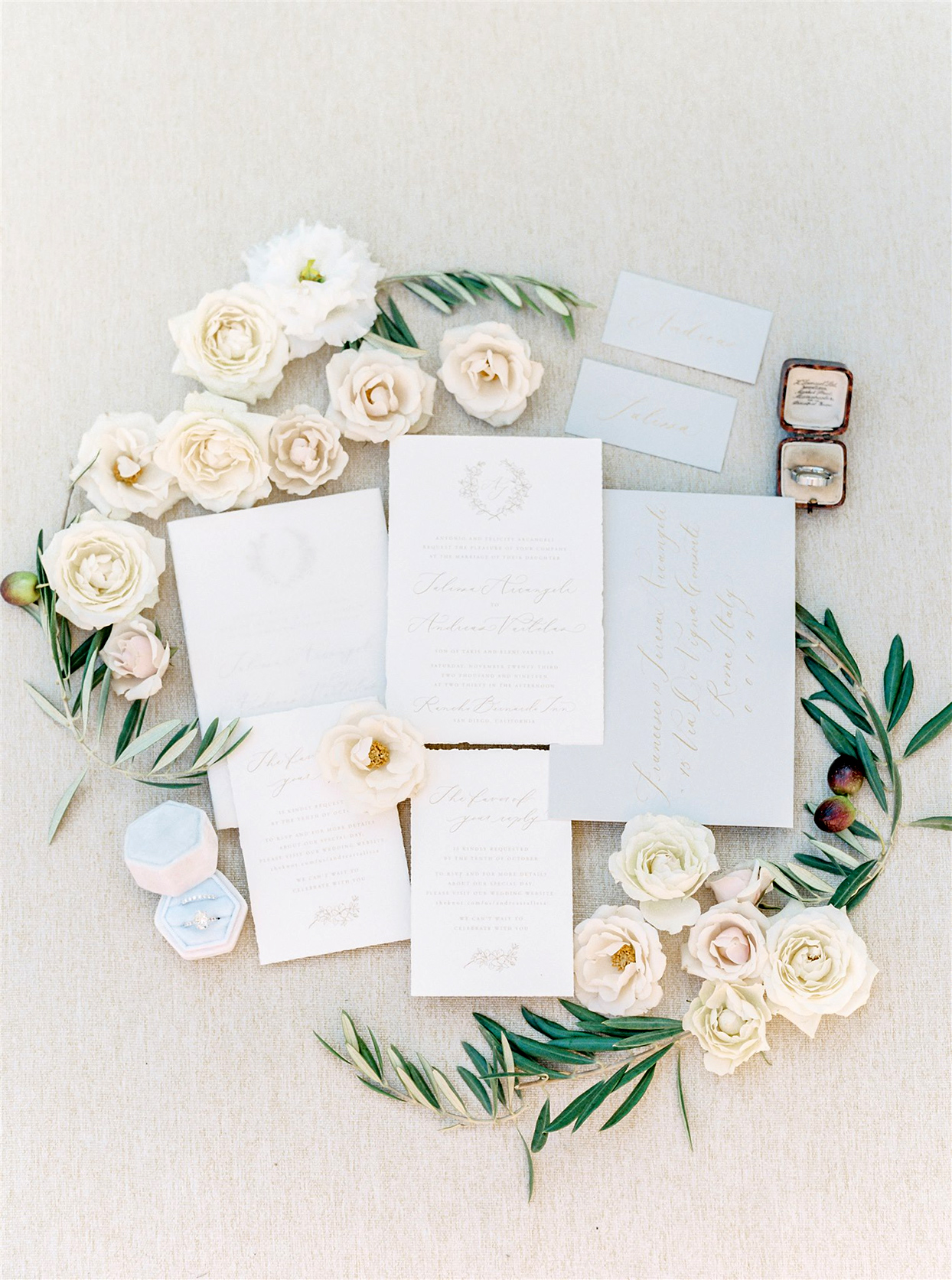 Invitation suite in ivory, gold, and gray