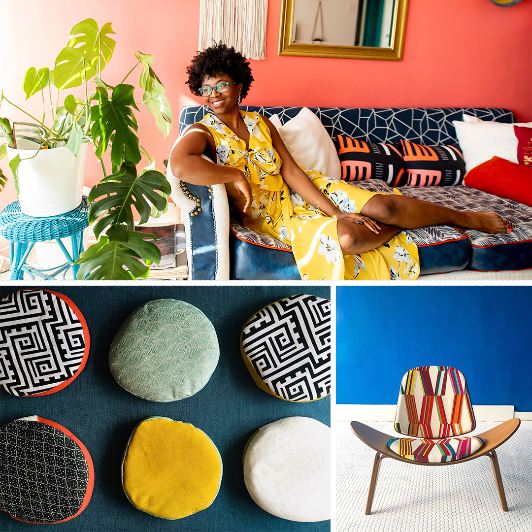 Nicole Crowder and her upholstery work