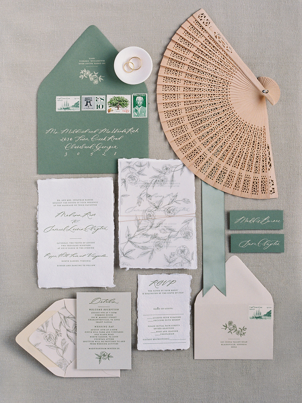 green and white elegant wedding invitation suite