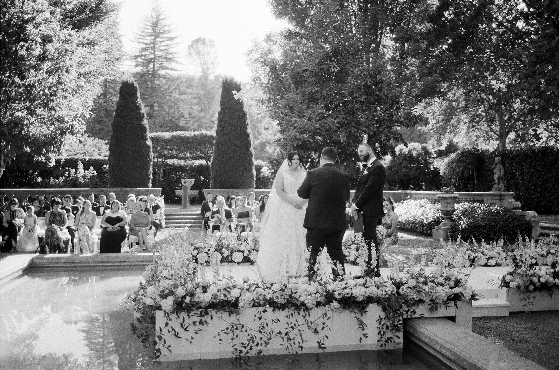 gillian tyler wedding couple ceremony in black and white