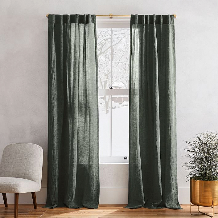 West Elm Belgian Flax Linen Curtains in Olive