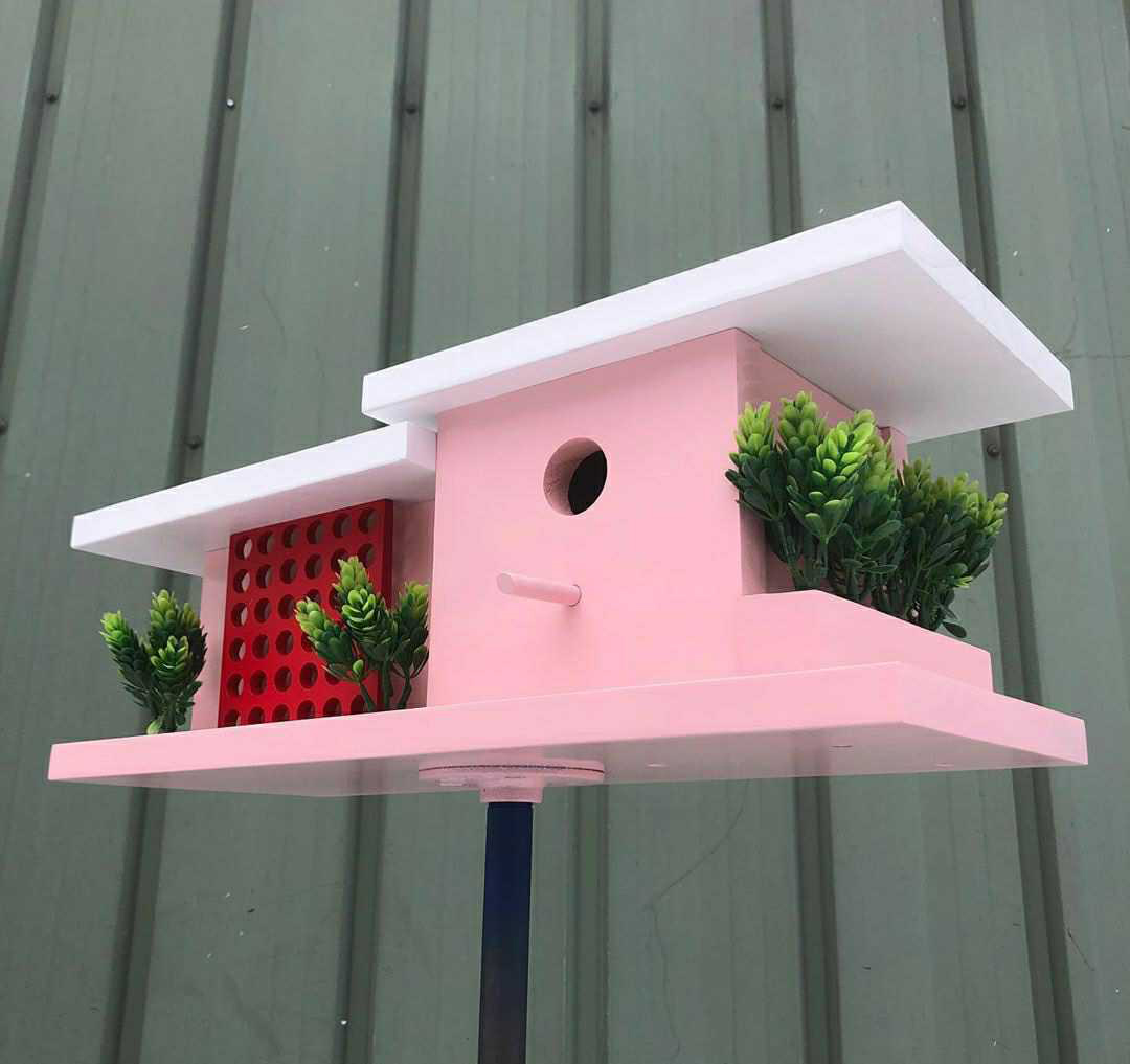 """pink birdhouse inspired by """"Golden Girls"""" home"""