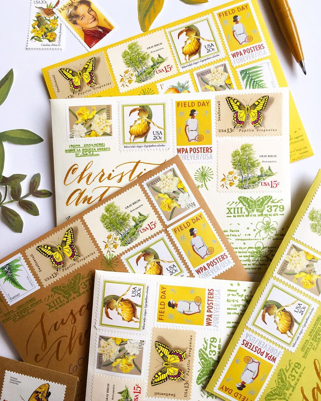 yellow stamps on envelopes