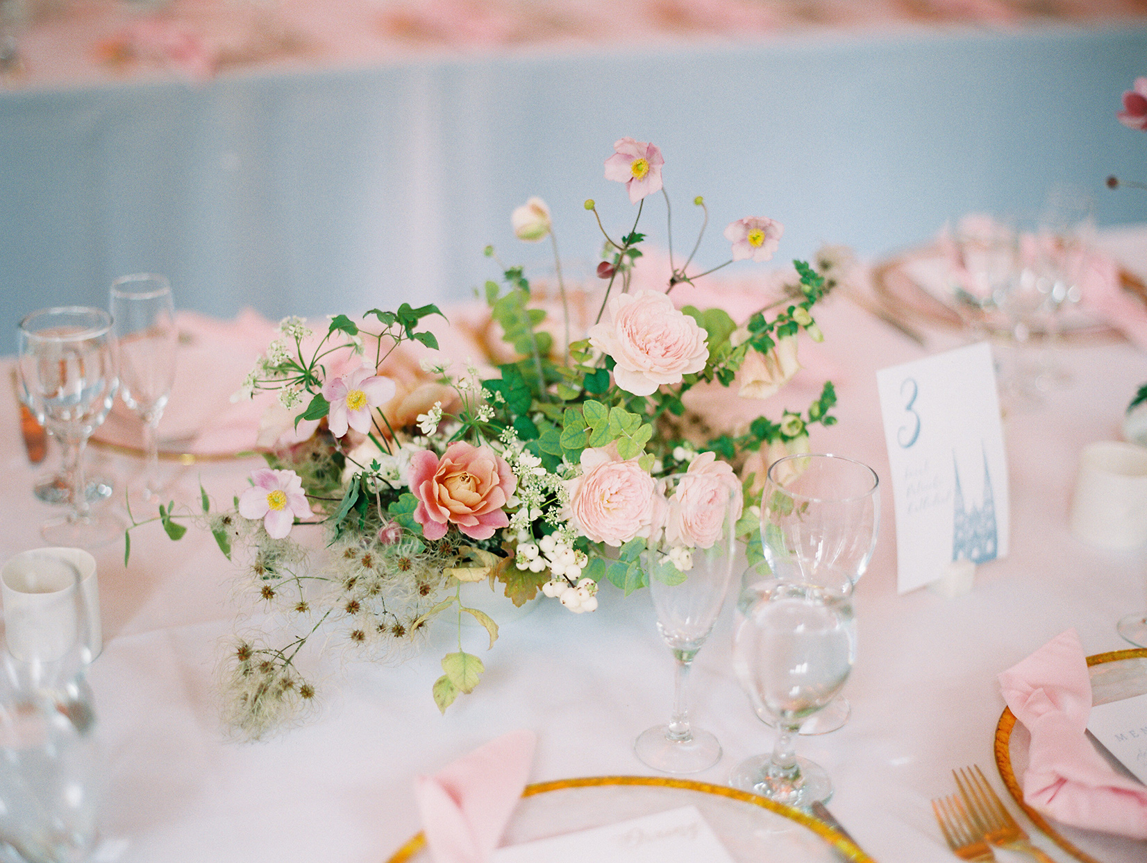 pastel pink and gold wedding floral centerpieces