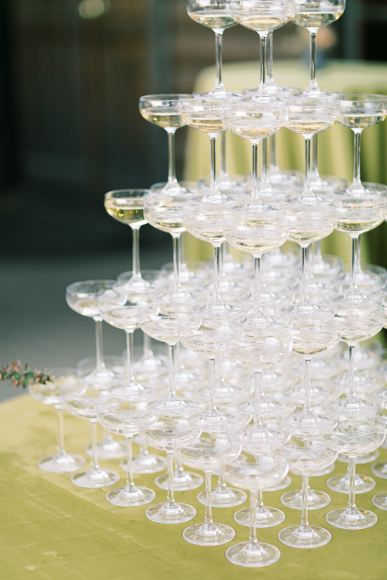 wedding champagne glass tower