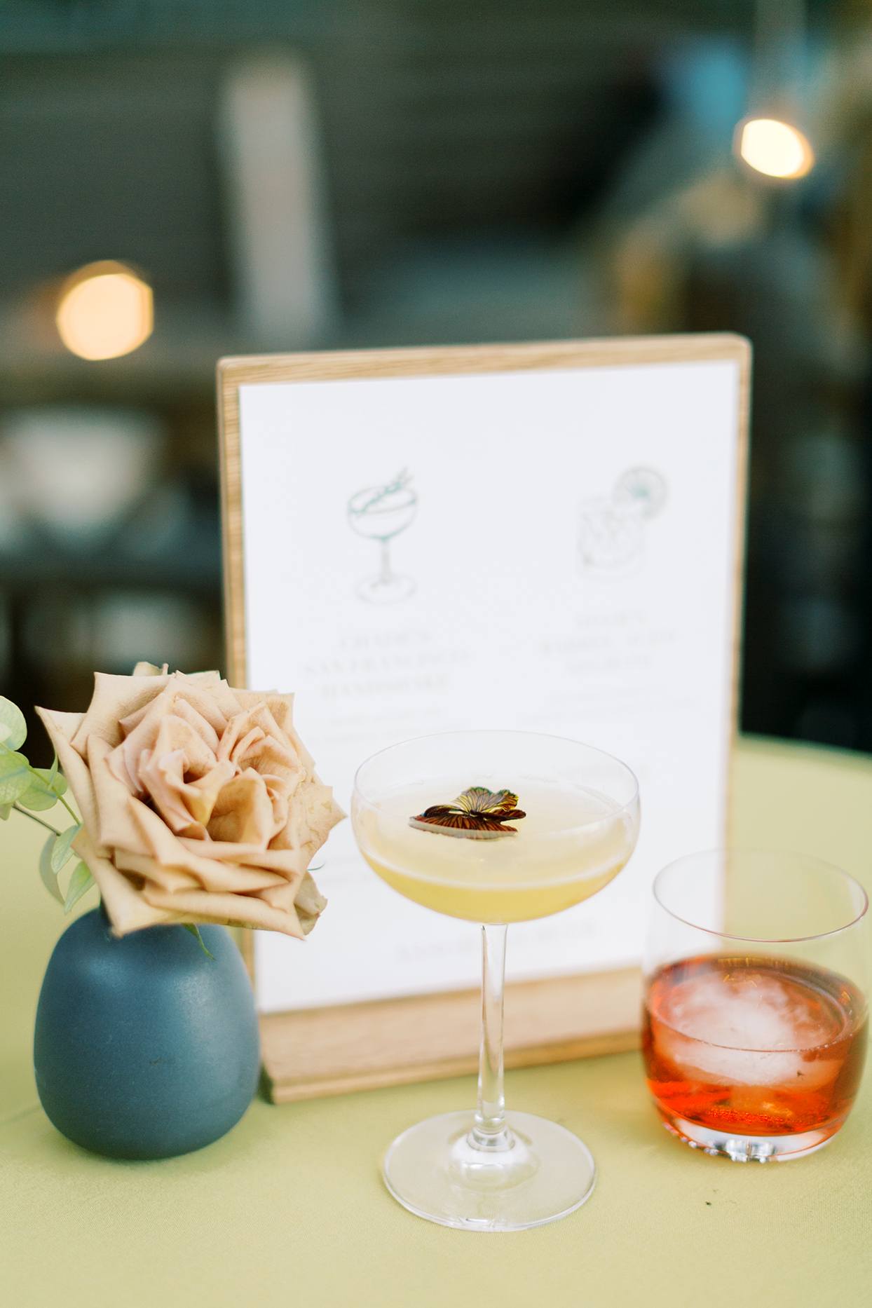 elegant fall wedding cocktails by sign