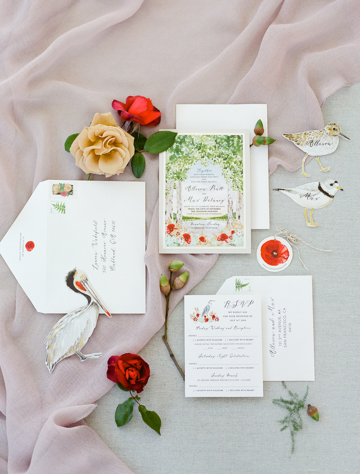 simple red, green, and white invitation suite