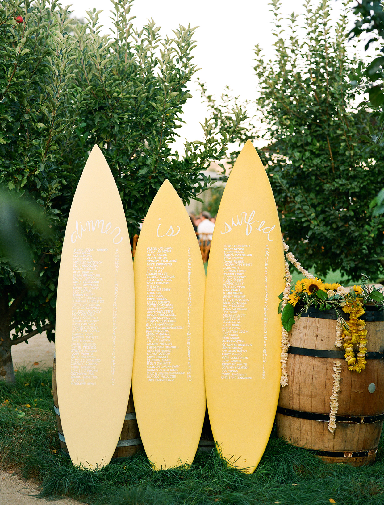 yellow surf board seating chart