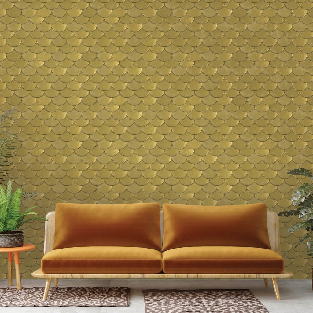 "Genevieve Gorder for Tempaper ""Brass Belly"" Removable Wallpaper in Old-World Brass Metallic"
