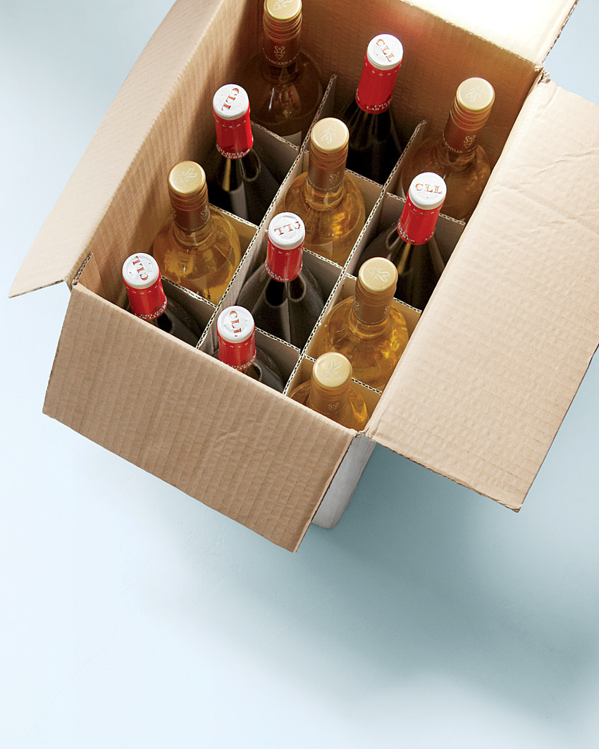 case of wine in box