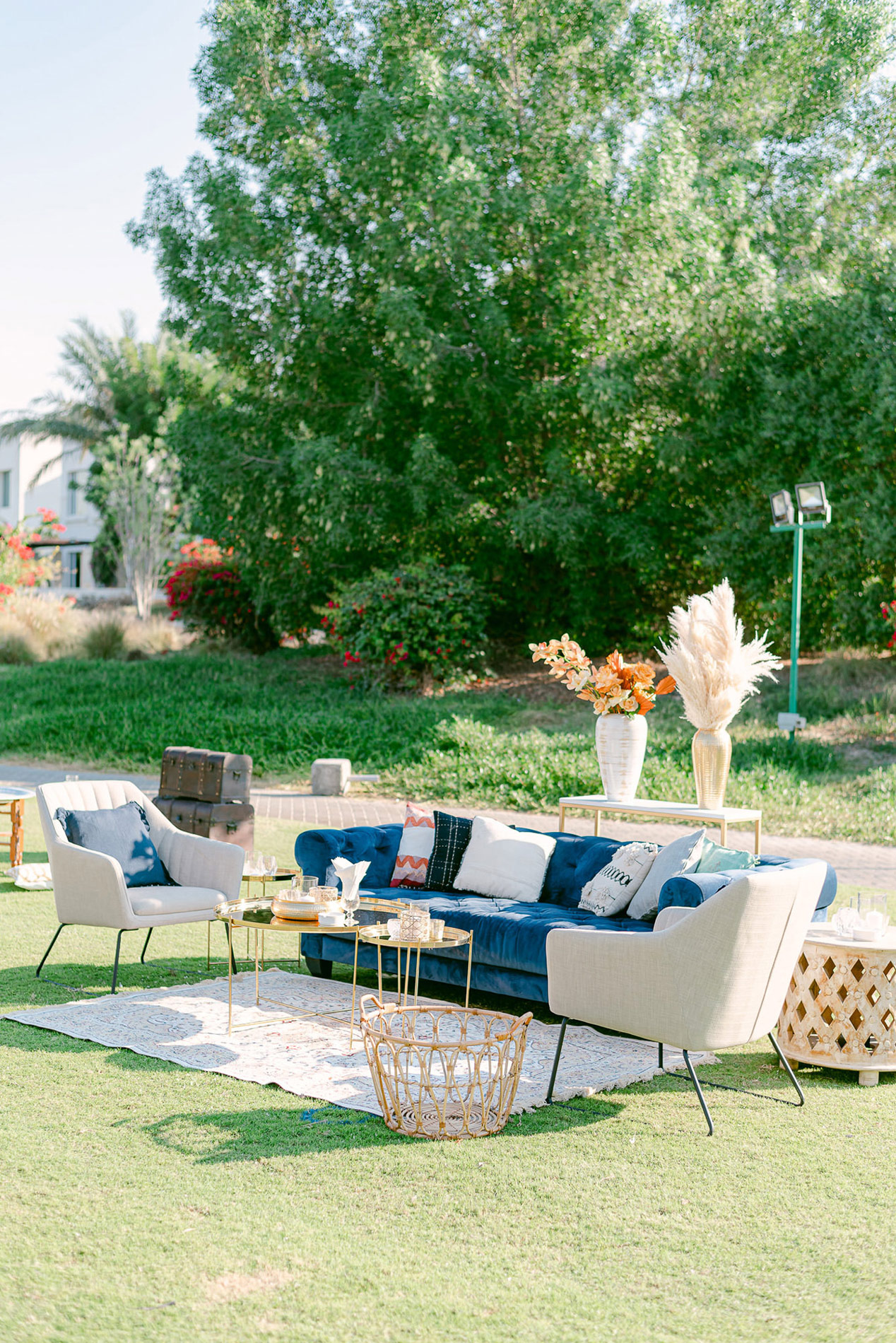 outdoor wedding lounge with couches and chairs