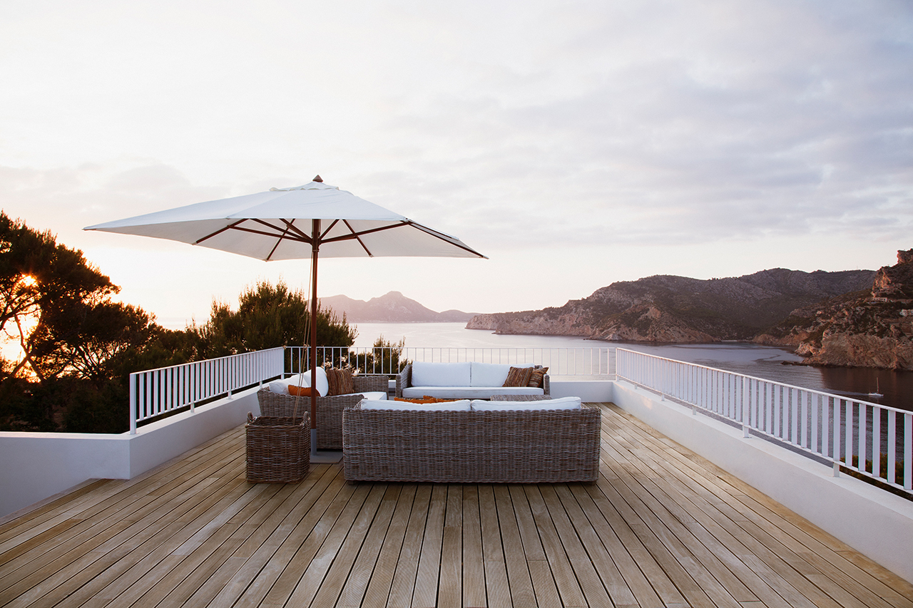 patio furniture deck lake view