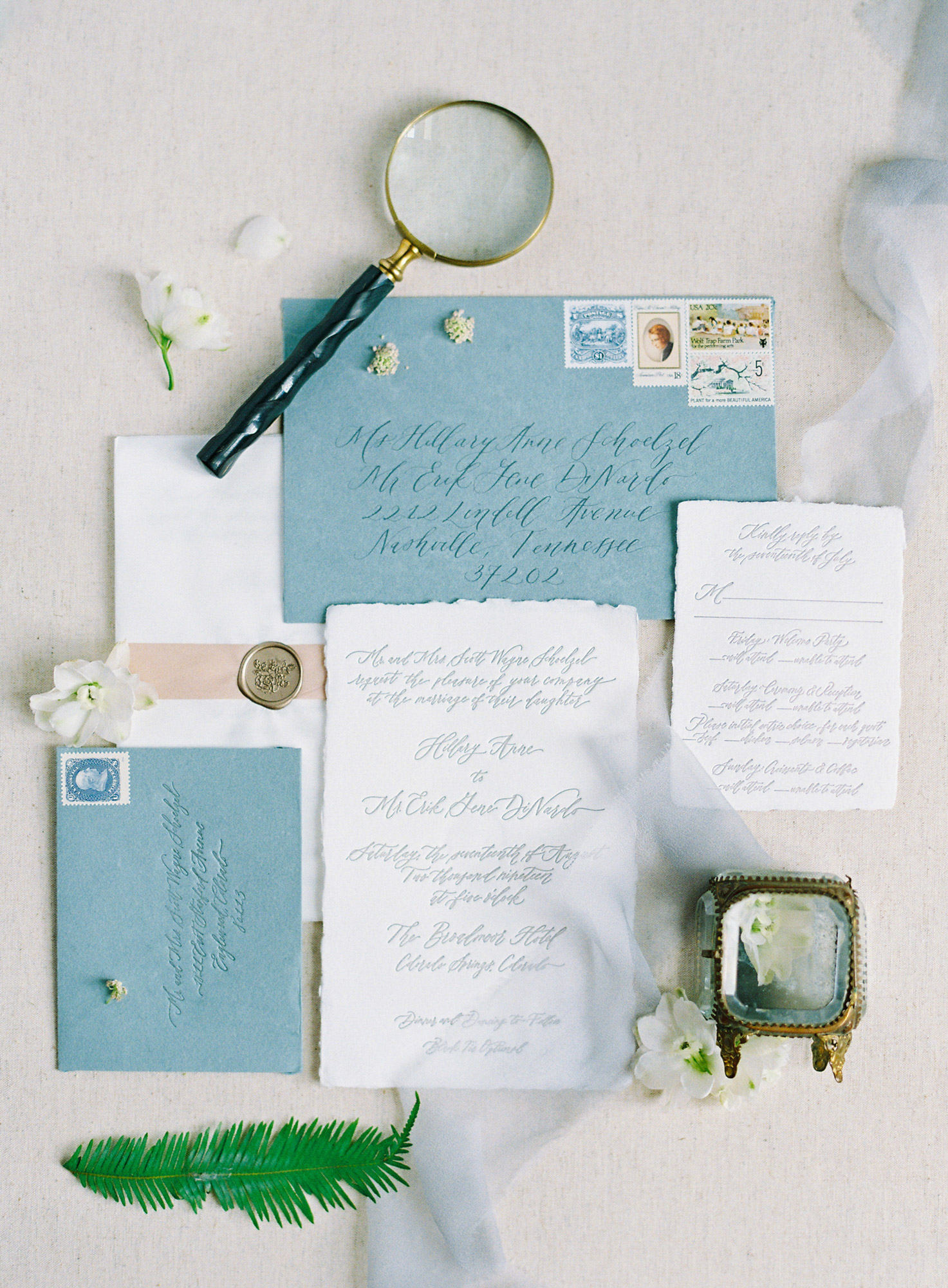 Hillary and Erik's wedding invitation package