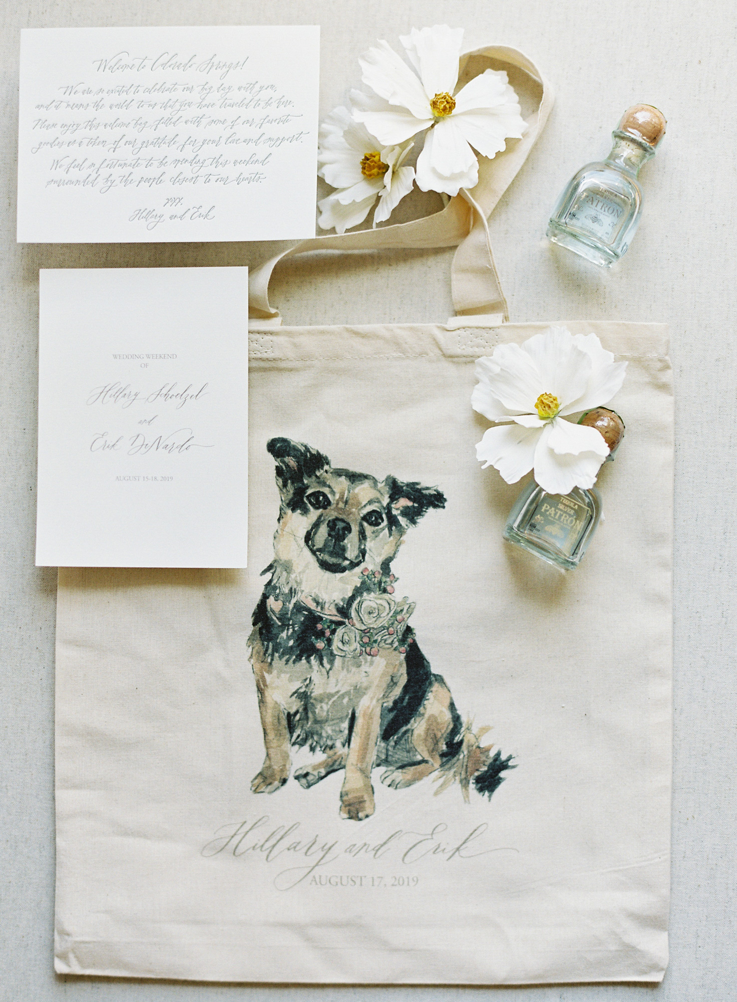 welcome bag decorated with paining of dog and mini bottles of tequila