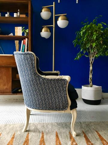 nicole crowder upholstery chair blue wall
