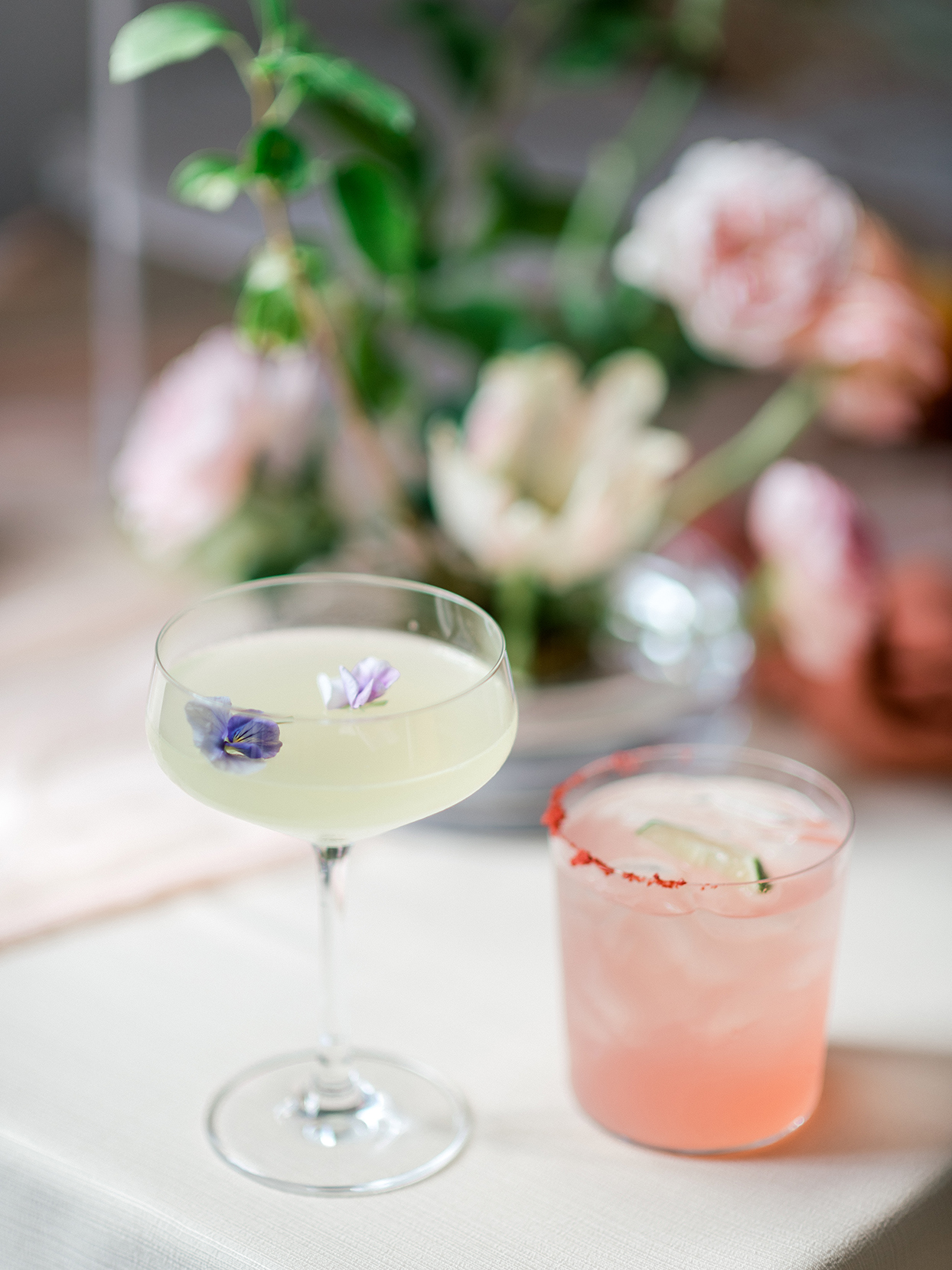 pastel signature cocktails on table