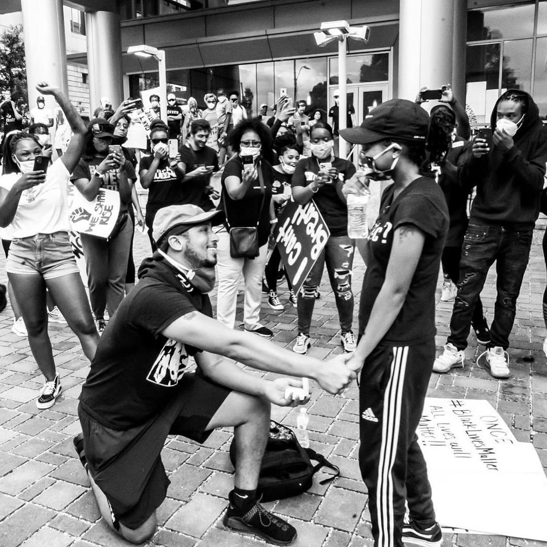 xavier young proposing to marjorie alston at black lives matter protest